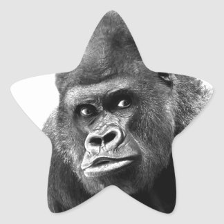 Black White Gorilla Star Sticker