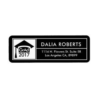 Black & White Grad Hat & Modern Frame Return Address Label