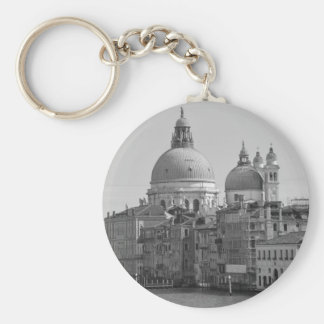 Black White Grand Canal Venice Italy Travel Basic Round Button Key Ring