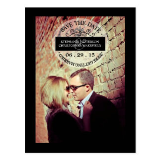 Black | White Graphic Stamp Save The Date Postcard