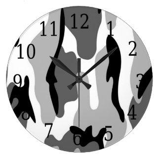Black White Gray Camouflage Round Clock