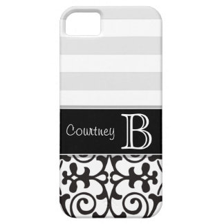 Black White Gray Damask Monogram iPhone 5 iPhone 5 Cover