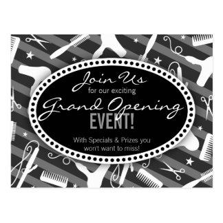Black White & Gray Hair Salon Grand Opening Postcard