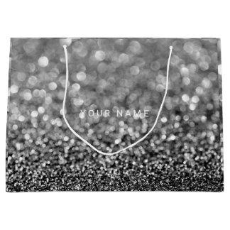 Black White Gray Maroon Glitter Favor Gift Large Gift Bag