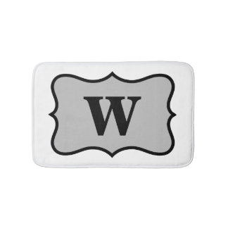 Black White Gray Monogram Initial Home Decorative Bath Mat