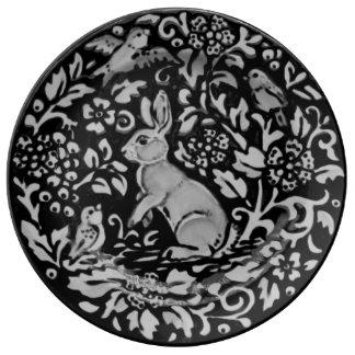 Black, White, Gray Rabbit Floral Porcelain Plate