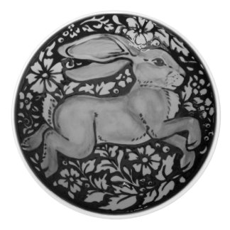 Black White Gray Rabbit Hare Drawer Pull Knob