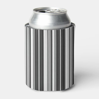 Black White Gray Striped Pattern Can Cooler