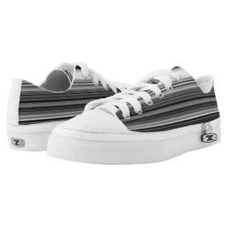 Black White Gray Striped Pattern Low Tops