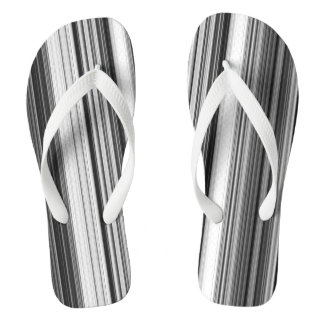 Black White Gray Striped Pattern Thongs