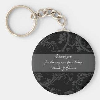 "Black white gray ""thank you"" ""wedding favors"" basic round button key ring"