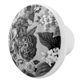 Black & White Gray Tone Vintage Floral Toile No.1 Ceramic Knob