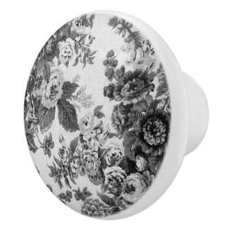 Black & White Gray Tone Vintage Floral Toile No.3 Ceramic Knob