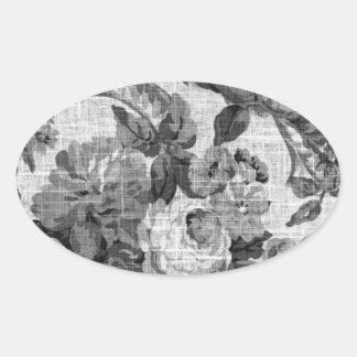 Black & White Gray Tone Vintage Floral Toile No.5 Oval Sticker