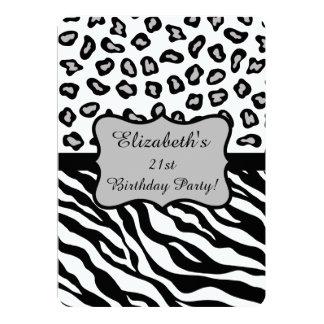 Black White Gray Zebra Leopard Skin 21st Birthday 13 Cm X 18 Cm Invitation Card