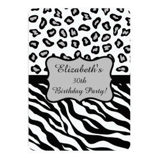 Black White Gray Zebra Leopard Skin 30th Birthday Card