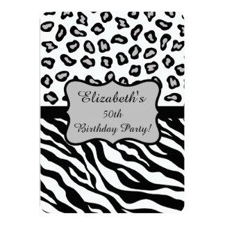 Black White Gray Zebra Leopard Skin 50th Birthday 13 Cm X 18 Cm Invitation Card
