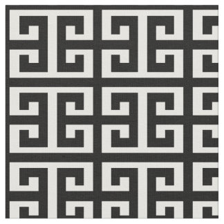 black white greek key fabric