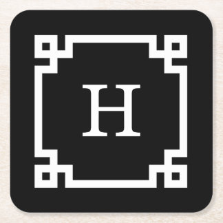 Black White Greek Key Frame #2 Initial Monogram Square Paper Coaster