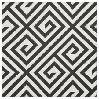 Black White Greek Key Geometric Pattern Fabric