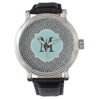 Black & White Greek Key Pattern Wristwatch