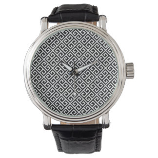 Black & White Greek Key Watch