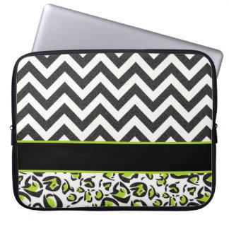Black, White, Green, Chevron, Animal Pattern Laptop Sleeve