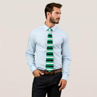 Black, White, Green-cyan Stripes Pattern Tie