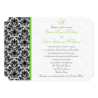 Black, White, Green Damask Wedding Invitation