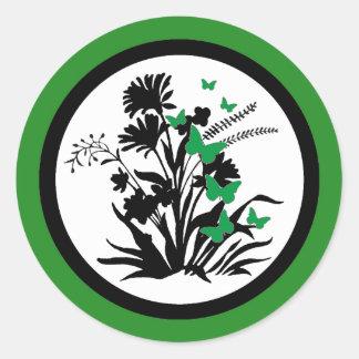 Black white green flower butterfly envelope seals round sticker