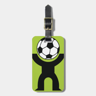 BLACK,WHITE GREEN SOCCER BALL HEAD SPORTS LOGO ICO LUGGAGE TAG