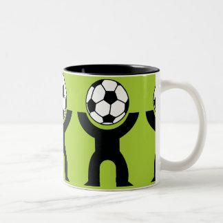 BLACK,WHITE GREEN SOCCER BALL HEAD SPORTS LOGO ICO COFFEE MUG