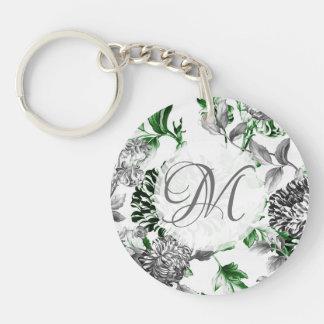 Black & White Green Vintage Floral Toile Monogram Key Ring