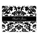 Black white & grey damask Wedding RSVP Post Cards