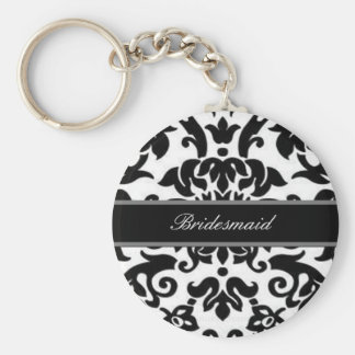 Black white & grey damask Wedding set Key Ring