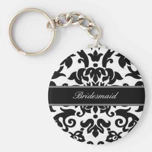Black white & grey damask Wedding set Keychains