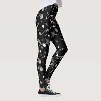 Black/White/Grey Musical Notes on Black Leggings