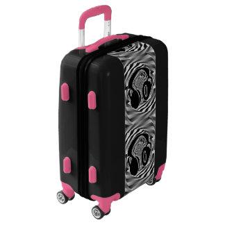 Black White & Grey Spiral Headphones Black & Pink Luggage