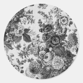 Black & White Grey Tone Vintage Floral Toile No.3 Round Sticker