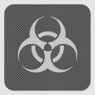 Black White & Grey Toxic Carbon Fiber Square Sticker
