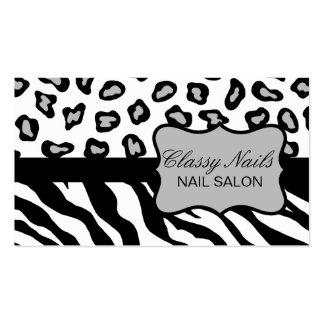 Black, White & Grey Zebra & Cheetah Custom Pack Of Standard Business Cards