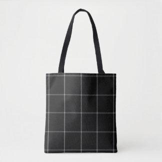 Black White Grid Tartan Plaid Tote Bag