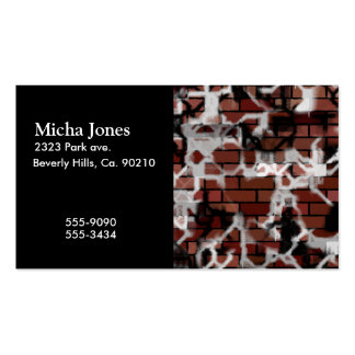 Black & White Grunge Graffiti Riddled Brick Wall Double-Sided Standard Business Cards (Pack Of 100)