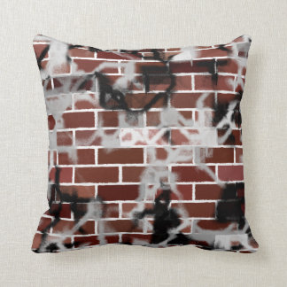 Black & White Grunge Graffiti Riddled Brick Wall Cushion