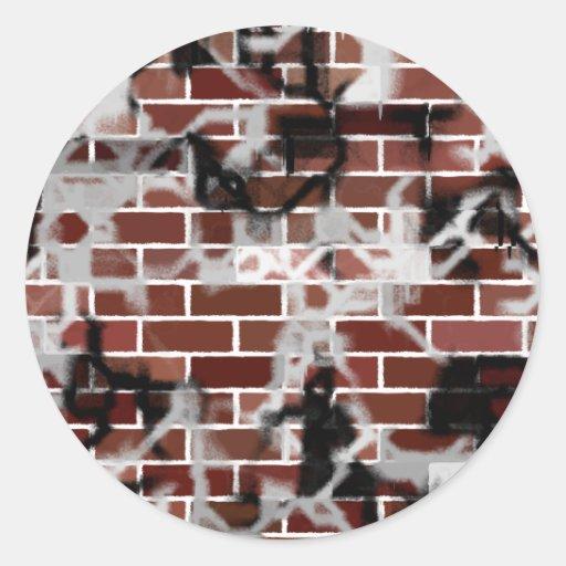 Black & White Grunge Graffiti Riddled Brick Wall Stickers