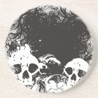 Black & White Grunge Skulls Illustration Drink Coaster