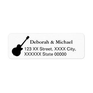 black & white guitar players return address label