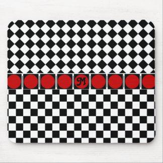 Black White Half Diamond Checkers Mouse Pad