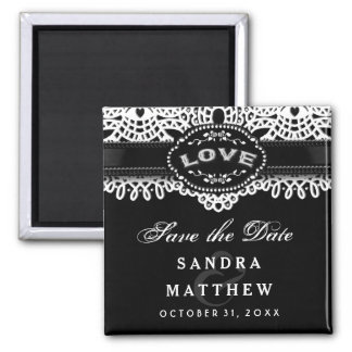 Black & White Halloween  Lace LOVE Save the Date Square Magnet