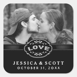Black & White Halloween LOVE Wedding Photo Square Sticker